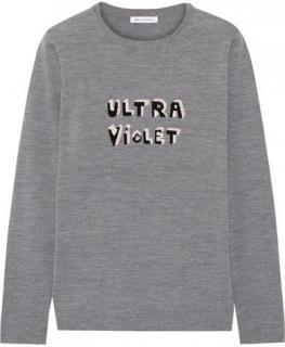 Bella Freud Grey Merino Wool Ultra Violet Intarsia Sweater