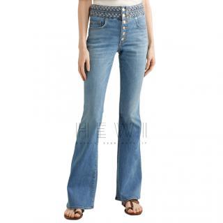 Veronica Beard Beverly braid-detailed high-rise flared jeans