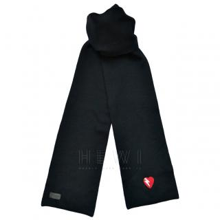 Saint Laurent Black Knit Heart Embroidered Scarf