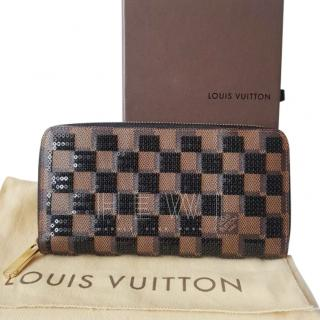 Louis Vuitton limited edition paillette damier ebene zippy wallet