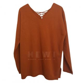 Max Mara Rust Lace-Up Wool Jumper