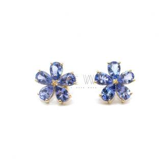 Bespoke 3.70ct Tanzanite Floral Earrings in Yellow Gold