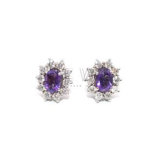 Bespoke 2.92ct Amethyst & 1.02ct Diamond Earrings
