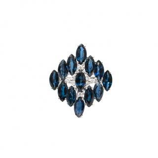 Bespoke 7.75ct Sapphire & 0.10ct Diamond White Gold Ring