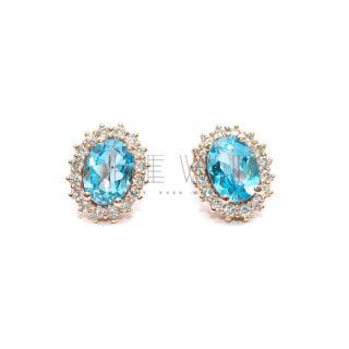 Bespoke 2.80 Topaz & 0.60ct Diamond Rose Gold Earrings