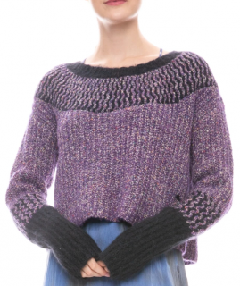 Raquel Allegra two tone chunky knit crop sweater