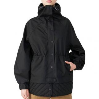 Ganni Black Gabardine Drop Shoulder Jacket - New Season
