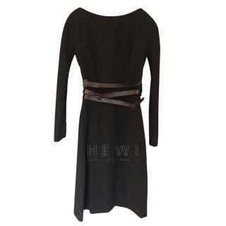 Dior Black Leather Belted Dress