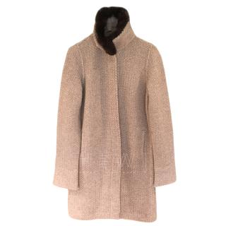 Loro Piana Cashmere Knit Chinchilla Trim Cardigan