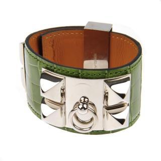 Hermes green alligator collier de chien