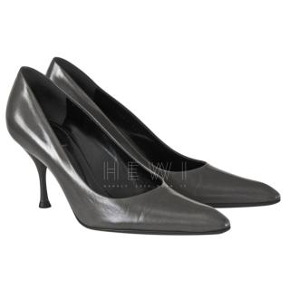 Yves Saint Laurent Charcoal Leather Pointed Toe Court Shoes