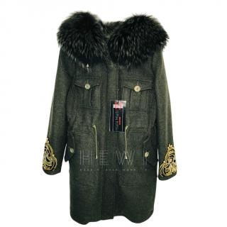 Mala Mati Emily Green Parka W/ Fox Fur Trim