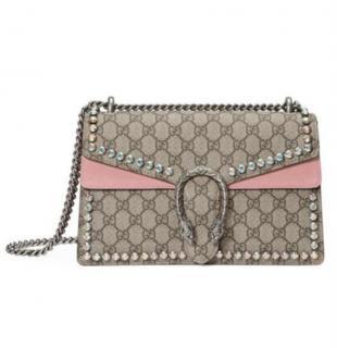 Gucci Supreme Monogram Pink Suede Crystal Dionysus Bag