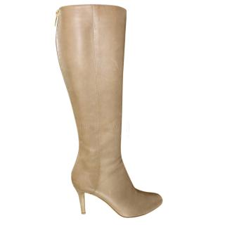Jimmy Choo Taupe Glory Grainy Boots