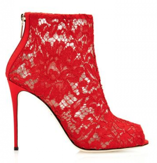 Dolce & Gabbana Red Lace Booties