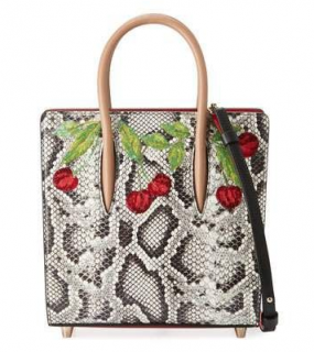 Christian Louboutin Paloma Small Cherry Snakeskin Tote Bag