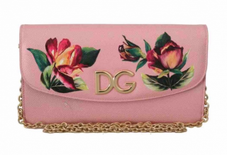 Dolce & Gabbana Rose Print Pink Shoulder Bag
