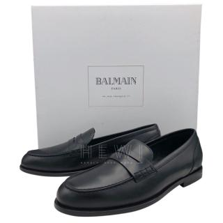Balmain Black Leather Penny Loafers