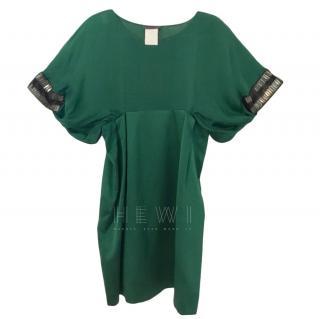 Alberta Ferretti Green Silk Dress, size 8