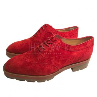 Christian Louboutin Charletta Suede Wing Tipped Brogues