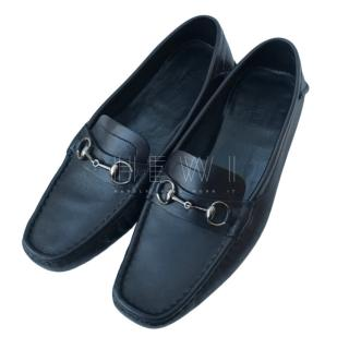 Gucci black leather driving shoes