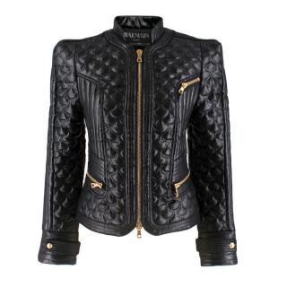 Balmain Quilted Black Faux Leather Biker Jacket