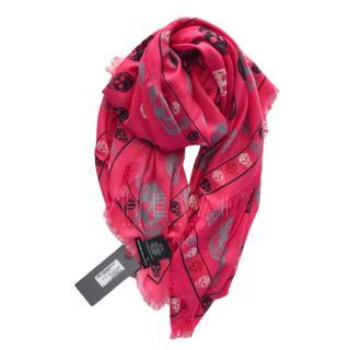 Alexander McQueen Pink Fringed Silk Skull Scarf