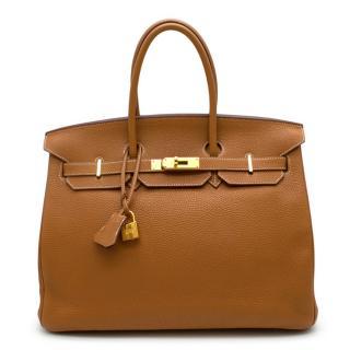 Hermes Gold Clemence Leather 35cm Birkin Bag