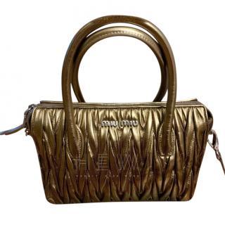 Miu Miu Matelasse Metallic Top Handle Bag