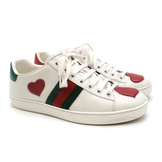 Gucci Ace Heart Embroidered Sneakers