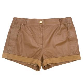 Louis Vuitton Brown Leather Lambskin Shorts