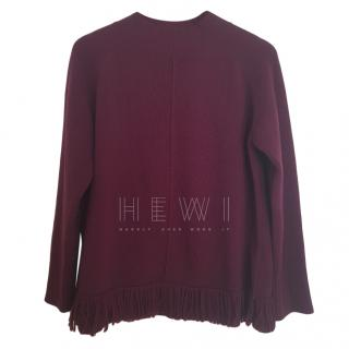 Max Mara Burgundy Wool Fringe Sweater