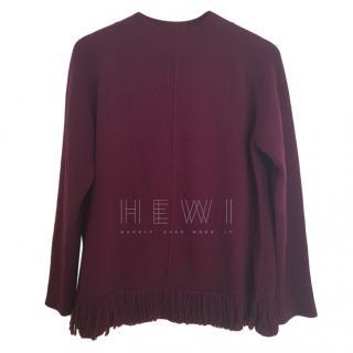 Max Mara Burgundy Wool Fringe Sweater