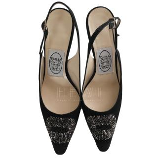 Emma Hope Black Embellished Slingback Sandals