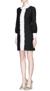 Gucci Ruffle Trim Wool-silk Cady Shirt Dress