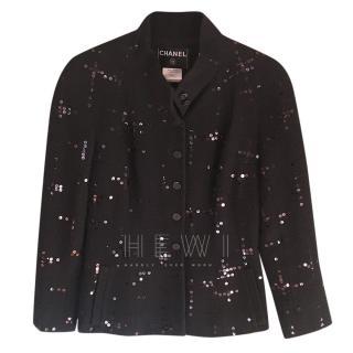 Chanel Black Vintage Sequin Embellished Jacket