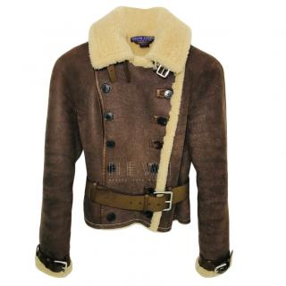 Ralph Lauren Collection Shearling Lined Aviator Jacket