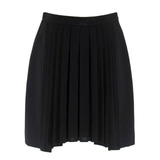 Saint Laurent Black Pleated Asymmetric Skirt