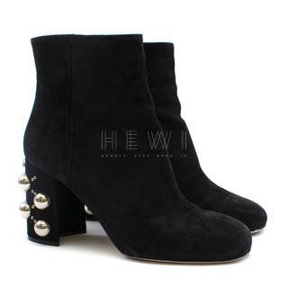 Miu Miu Black Suede Studded Ankle Boots