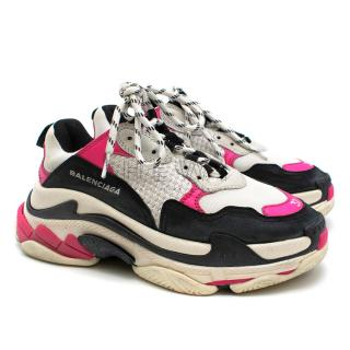 Balenciaga Triple S Sneakers in Black & Pink