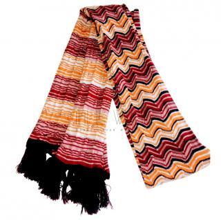 Missoni Red & Orange Zig-Zag Knit Scarf