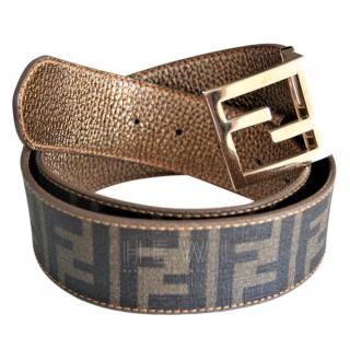 Fendi double face zucca belt with gold-tone buckle