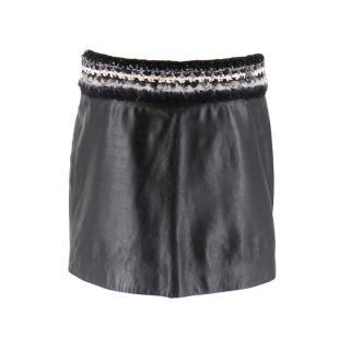 Chanel Black Leather Miniskirt W/ Tweed Waist