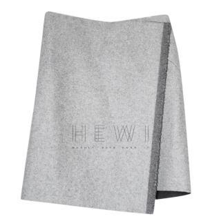 Celine Grey Felted Wool Wrap Asymmetric Mini Skirt