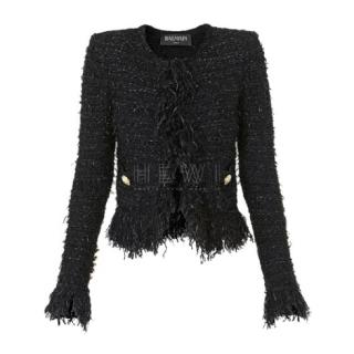 Balmain Metallic Tweed Fringe Jacket