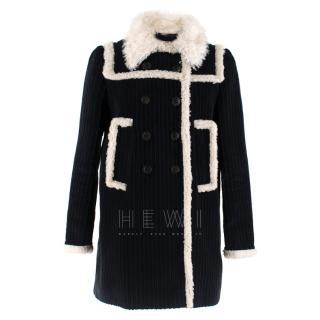 Miu Miu Faux Shearling-Trimmed Corduroy Coat