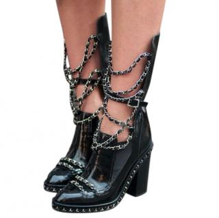 Chanel Black Patent Leather Chain Detail Runway Boots