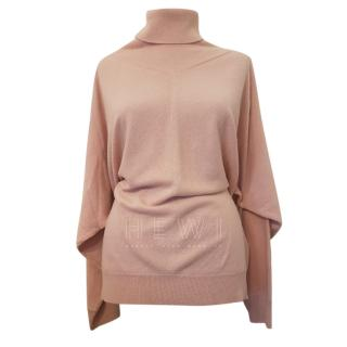 Max Mara Pink Wool Roll Neck Jumper