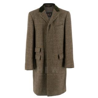 Daks Green Velvet Collar Wool Check Men's Coat