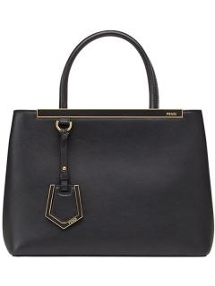 Fendi 2Jours Black Leather Tote Bag